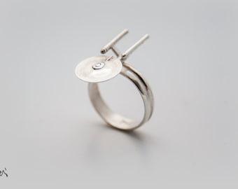 enterprise, Star trek enterprise ring,unique ring,trekkies, star trek jewelry,tng jewelry,star trek,enterprise ring