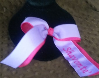 7 inch double ribbon monogrammed bow