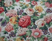 Retro Cabbage Rose Fabric, Lovely Colors, Large Sample, Perfect Condition,