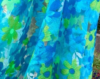 Retro Fabric, Sheer Cutout, Blues and Greens, Floral Fabric