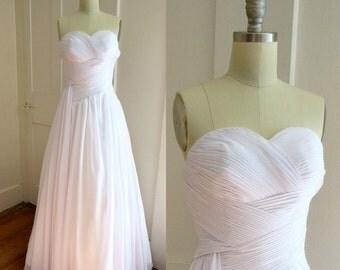 Strapless Chiffon White Wedding Gown - Snow White Wedding Dress - Goddess Wedding Dress