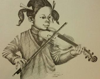 Vintage poster print youg African American girl playing Violin