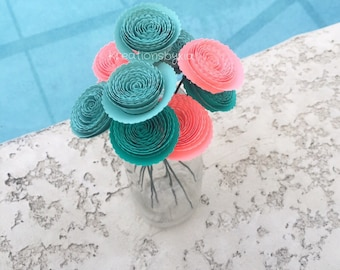 Spiral Rosette Paper Flowers // Origami, Kusudama, Bouquet, Centerpiece, Home Decor, Gift, Paper Flower with stems