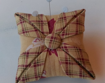 Pincushion/Cathedral Window/ Folded Star/ Handmade Pincushion/Homespun Tuscan Gold, Maroon, Olive Plaid, Tuscan Gold Chicken Print