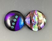Large Glass Dichroic Purple Cabochon Pair