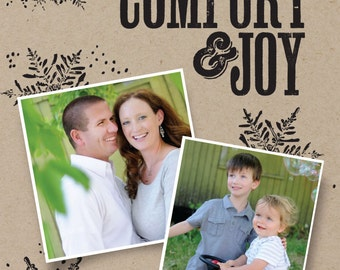 Comfort and Joy Holiday card (digital or printed) 5 x 7 custom colors/wording available