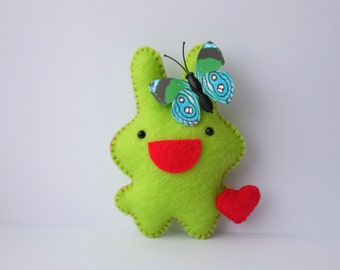 So happy green bunny doll Easter basket decor