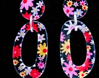 "HUGE Resin Multi Colored Floral Drop Dangle Earrings By French Designer Marion Godart 4"" Clip on"