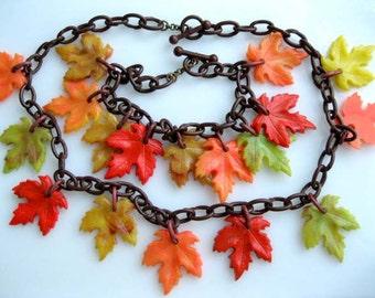 Autumn Leaves Celluloid Necklace Bracelet Pair, Celluloid Link Chain, Molded Plastic Leaf Drops, Russet, Gold, Pumpkin, Tan, Green
