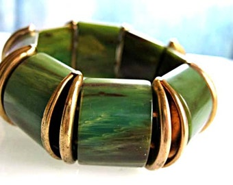 Marbled Bakelite Stretch Bracelet, Brass Accents, Spinach Swirled Green Panels Cuff, Wide Curved Sections