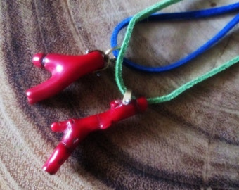 Red Coral Branch Necklace Pinned Gemstone Bamboo Pendant Twig Nature Ocean Metalsmith Jewelry Learther Cord Modern Large Stone