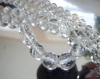 "Flapper 30""  cut faceted crystal graduated  beaded necklace"