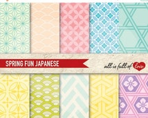 80% OFF Digital PATTERNS JAPANESE Graphic Backgrounds Pastel Scrapbook Papers