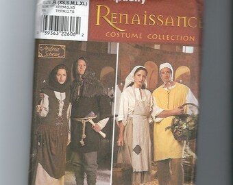 UNCUT Sewing Pattern Simplicity 8587 for Peasant and Serf Costumes, all sizes