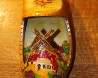 Souvenir of Holland - Hand Painted Custom Carved Wooden Shoe