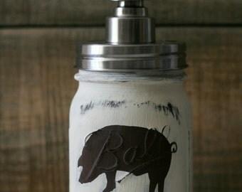Rustic Pig Mason Jar Soap Dispenser. Farmhouse, Kitchen, Bathroom