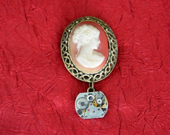 Antique Cameo Brooch - Steampunk Pin