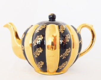 Black and Gold, Teapot, Vintage Teapot, Hand Painted Teapot