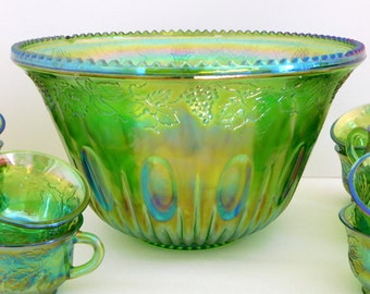 Carnival Glass Punch Bowl, Green with Blue, 12 cups, 1970's, Harvest Grape Pattern