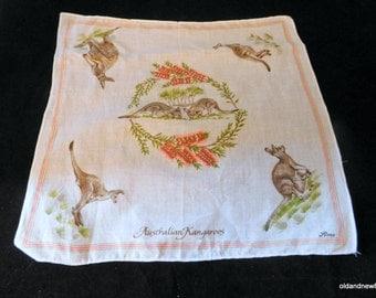 Australian Kangaroos Handkerchiefs, Australian Souvenir, Textiles, FREE SHIPPING