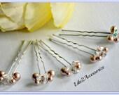 Pearl Hair Pins Wedding Accessories Bridal Hair Piece Crystal Swarovski Pearls Bridemaid Hair Do Blue White Ivory Brown Pins Pearl Hair Clip