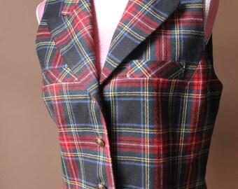 Vintage Wool Plaid Vest