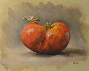 original oil painting, tomato  locust 6 by 9 inches