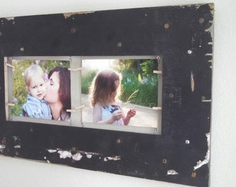 Handmade double picture frame industrial chic metal and wood double picture frame with industrial wire brackets