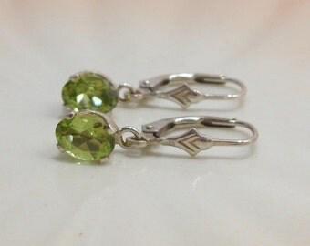 Peridot Sterling Silver Dangle Pierced Earrings August Birthstone