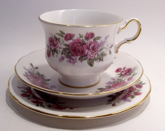 Queen Anne Bone China 3 pc. Set Tea Cup, Saucer, Dessert Plate Pink Roses Made in England