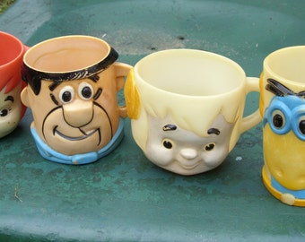 Four Flintstones Children's Cups Mugs Fred, Pebbles, Bam Bam and Dino