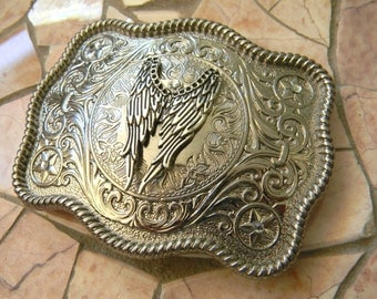 Angel Wings Belt Buckle, Guardian Angel, Biker Chick, Fairy Wings, Memorial, In Loving Memory, Custom Silver Womens Mens Western Belt Buckle