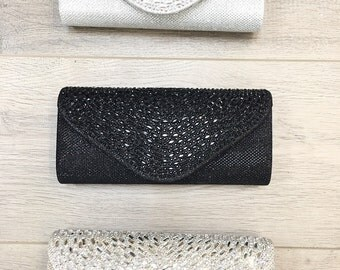 Set of 3 clutches in Silver, Gold, Black gift for bridesmaids, wedding party, wedding accessories, bridal accessories