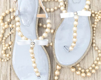 Women Pearls Flat Sandals - Light Blue Patent Pearl/Rhinestones flat sandal. Perfect for bridesmaid gifts, wedding party
