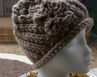 Girls Taupe Color Knit Hat, Hat with Flower, Girls Winter Hat, Hand Knit Hat, Free Shipping