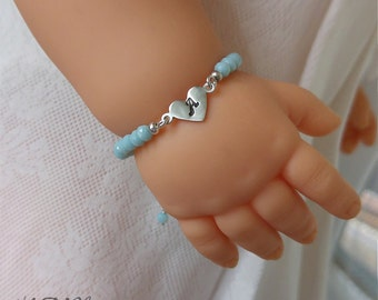 Children Baby Blue Crystal Bracelet With Handstamped Initial Heart Personalized Sterling Silver Baby Girls Toddler Jewelry Gift For Kids