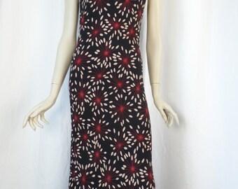 LIDA BADAY draped neckline black silk chiffon floral fireworks dress/ feminie and flirty: size 6/8 US woman