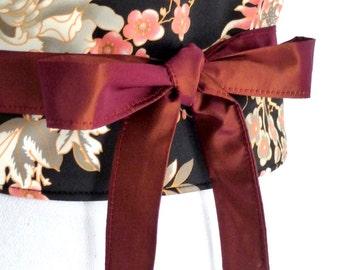 "Reversible Obi Belt by Lorella Creations / Funky Bags 'n Bibs ""ChangPu"" (asian flowers) (black, gray, peach, pink)  japanese"