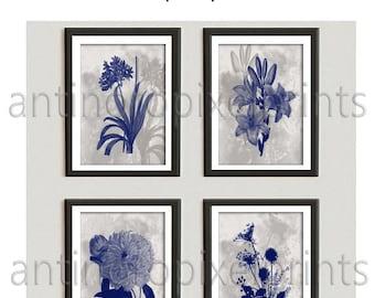 Navy Greige Botanical  Digital Floral Damask Wall  Vintage Modern Wall Art Prints  - Set of (4) 8x10 (Unframed) #264195061