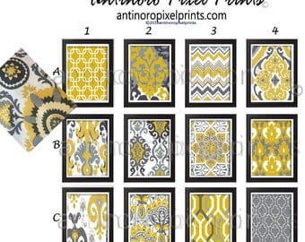 Shades of Mustard Ikat Geometric Mustard Yellow Grey White Prints, Set of Any (3) Wall Art Prints, Custom Colors Available #400626019