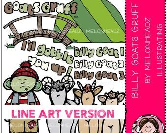 Billy Goats Gruff clip art - LINE ART