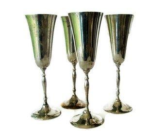 Vintage Silver Plate Champagne Glasses, Goblets, Wedding Table Decor, Wine Glasses