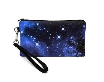 Galaxy S7 Edge Purse, Xperia Z5 Bag, iPhone s6 plus Case, Lumia 640 Smartphone Wristlet removable straps - night sky stars