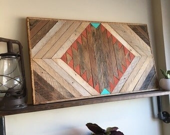 "Reclaimed Lath Wall Decor 33""x18"""