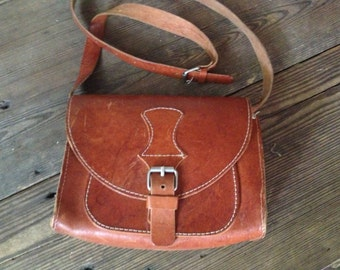 Brown Leather Purse, Saddlebag Satchel Bag Small Crossbody Greek Handcrafted