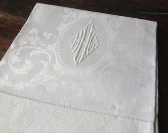 Antique Irish Huck Damask White Linen Towel Dinner Napkin, Set of 11, Embroidered Monogram, Country Farmhouse