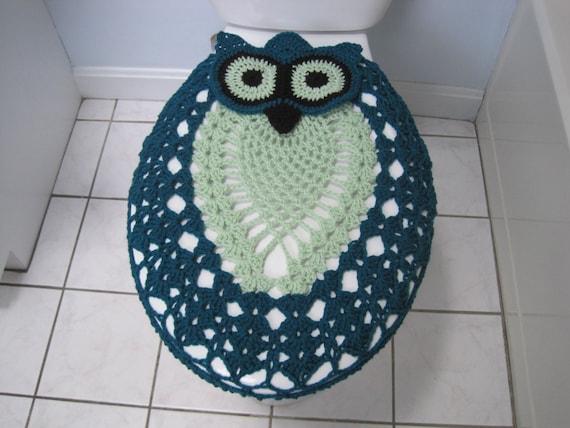 Crochet Owl Toilet Seat Cover Real Teal Honeydew Black