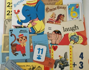 Cute Scrap Pack / 40 Pc. Vintage Circus Animals Ephemera Scrap Pack for Altered Art, Mixed Media, Collage