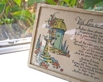 1930s Framed Verse, Illustrated, Hand-coloured - With Love To Mother on Mother's Day, 1930s