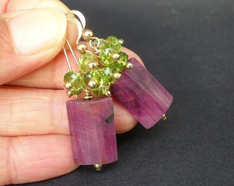 Natural Gemstone Ruby Puffed Rectangle Shape, Natural Gemstone Peridot Faceted Rondelle Shape, Cluster 14kt Gold Filled Dangle Earrings